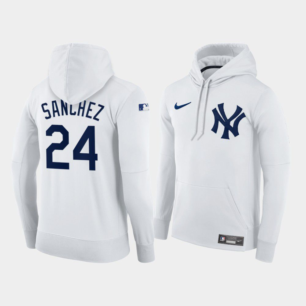 Cheap Men New York Yankees 24 Sanchez white home hoodie 2021 MLB Nike Jerseys